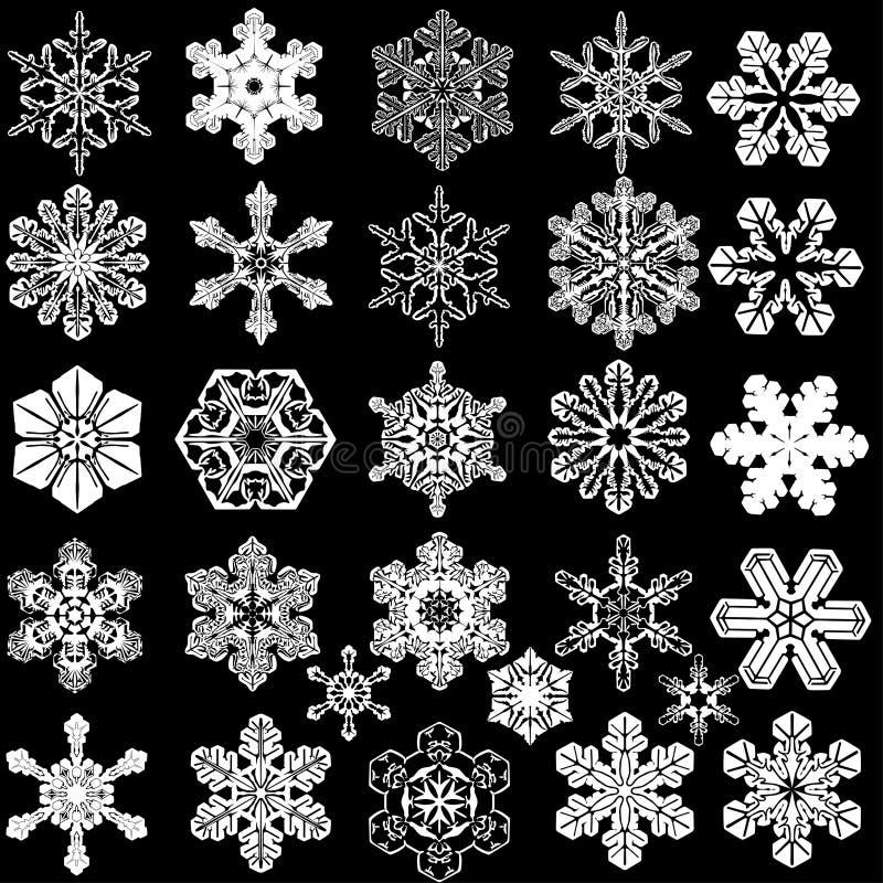 Colección de 28 copos de nieve simétricos. fotografía de archivo