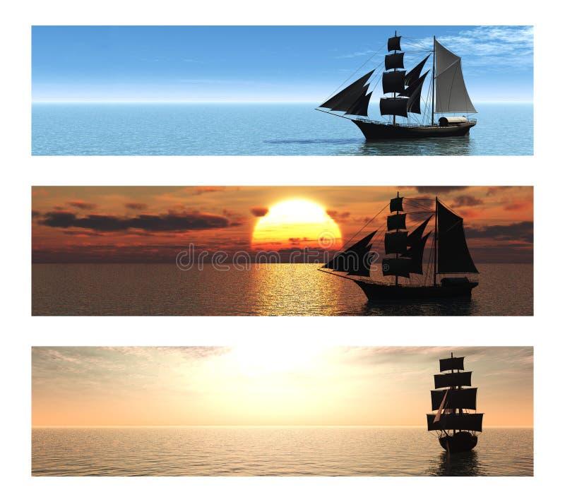 Colección de 3 banderas con las naves en el mar.
