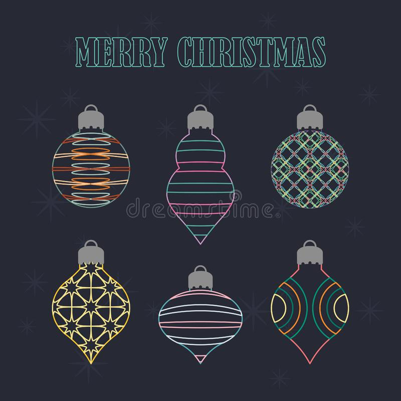 Colección de adornos navideños con marco de alambre libre illustration