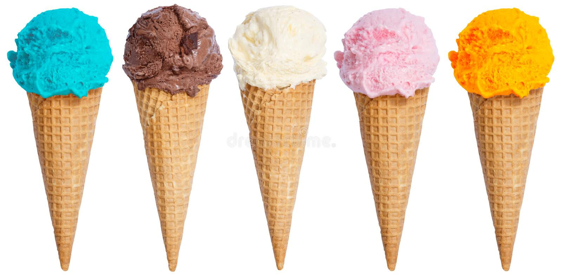 Colección de aislador del helado del cono del helado de la cucharada del helado en fila fotos de archivo