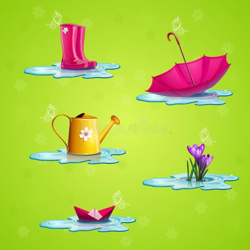 Colección de algunos objetos de la primavera stock de ilustración