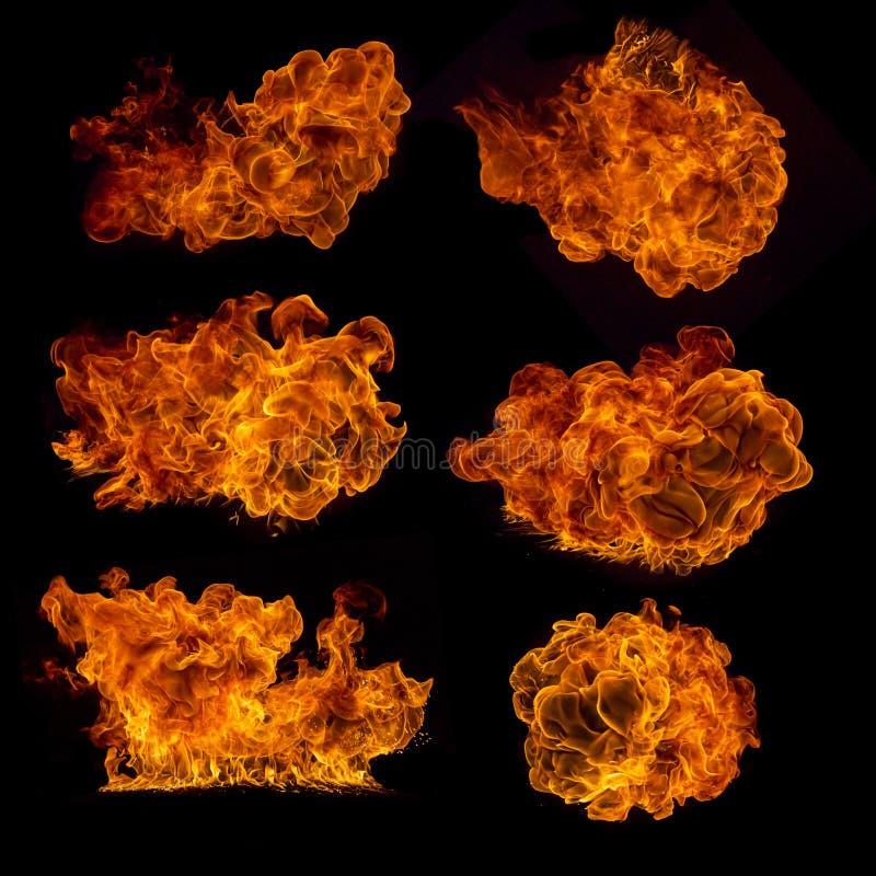 Colección de alta resolución del fuego en negro foto de archivo libre de regalías