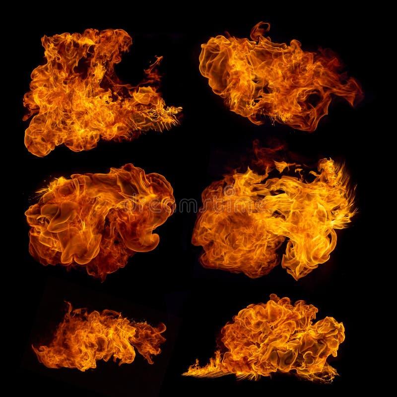 Colección de alta resolución del fuego en negro imagen de archivo