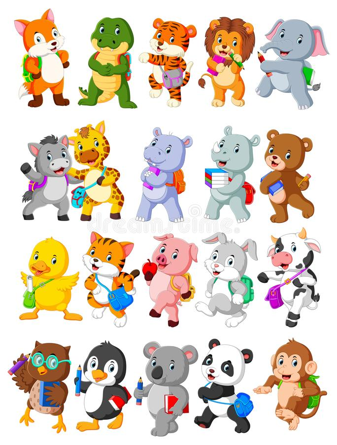 Colección de animal feliz ir a enseñar libre illustration