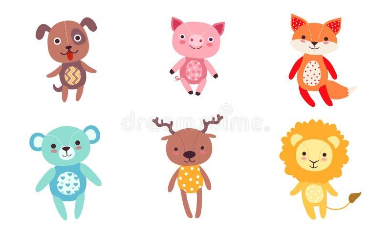 Colección de animales de juguetes, Perro, Cerdo, Fox, Oso, Cervo, Venado, Ilustración de vectores de leones stock de ilustración