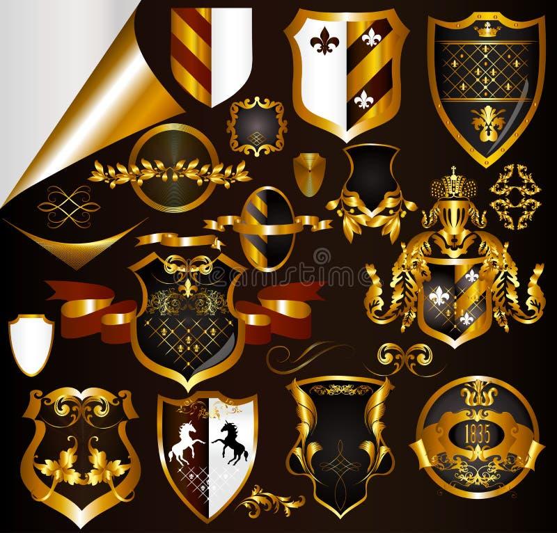 Colección de armas o de escrituras de la etiqueta de oro de los elementos stock de ilustración