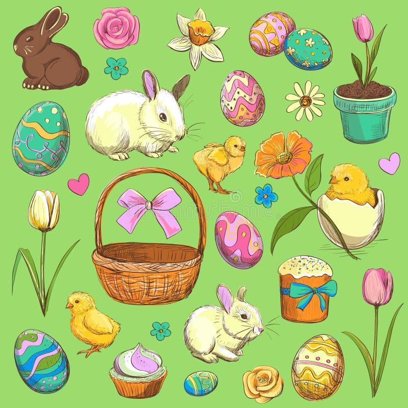 Colección de artículos de Pascua Mano drenada ilustración del vector