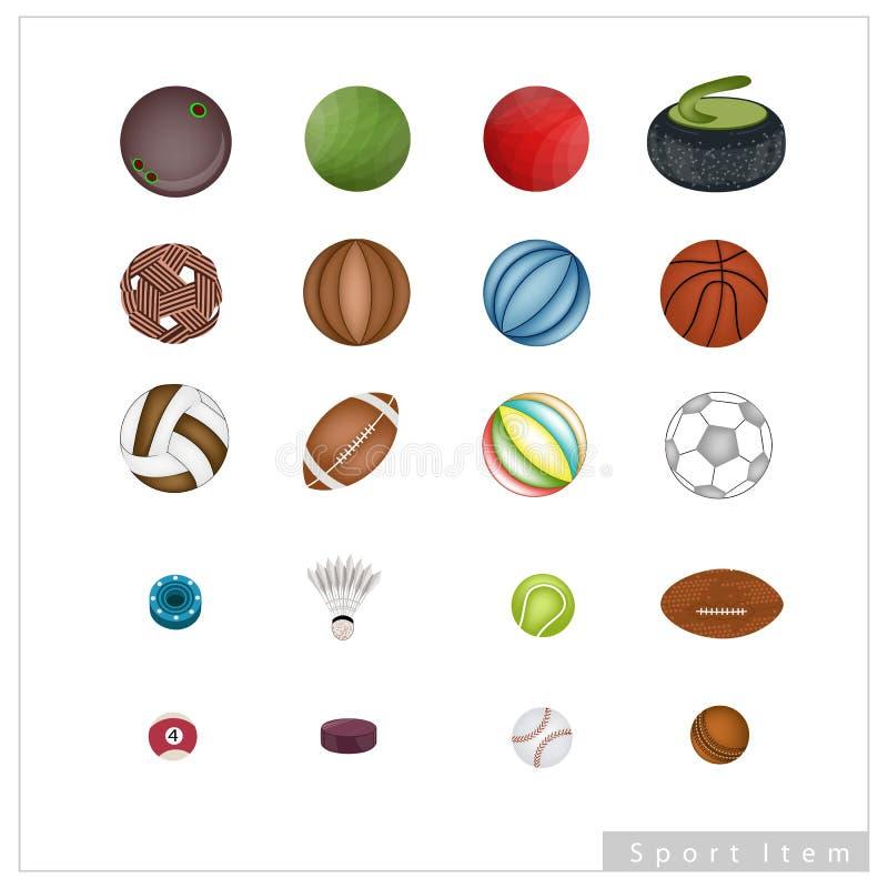 Colección de artículos del deporte en el fondo blanco stock de ilustración