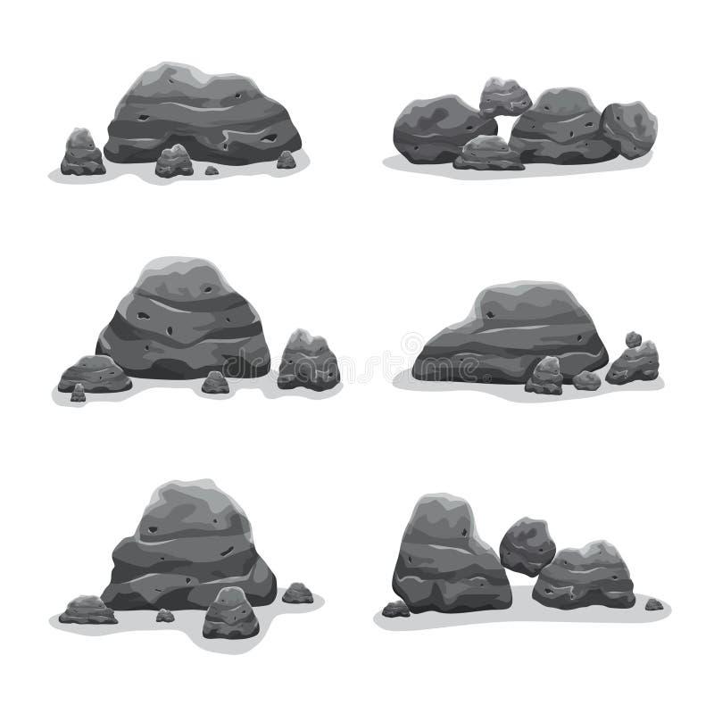 Colección de arte fijada piedras del vector de la roca stock de ilustración