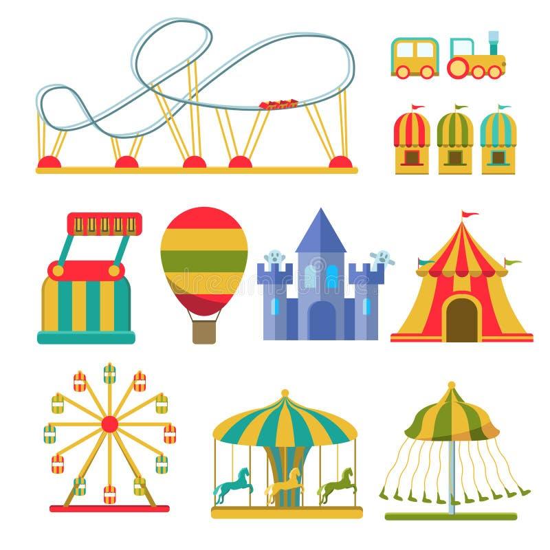 Colección de atracciones y de elementos del parque de atracciones stock de ilustración