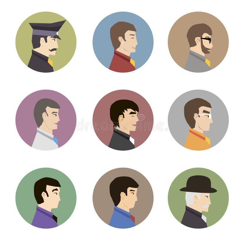Colección de Avatar de caracteres masculinos hermosos elegantes en el ejemplo plano moderno del vector del diseño ilustración del vector