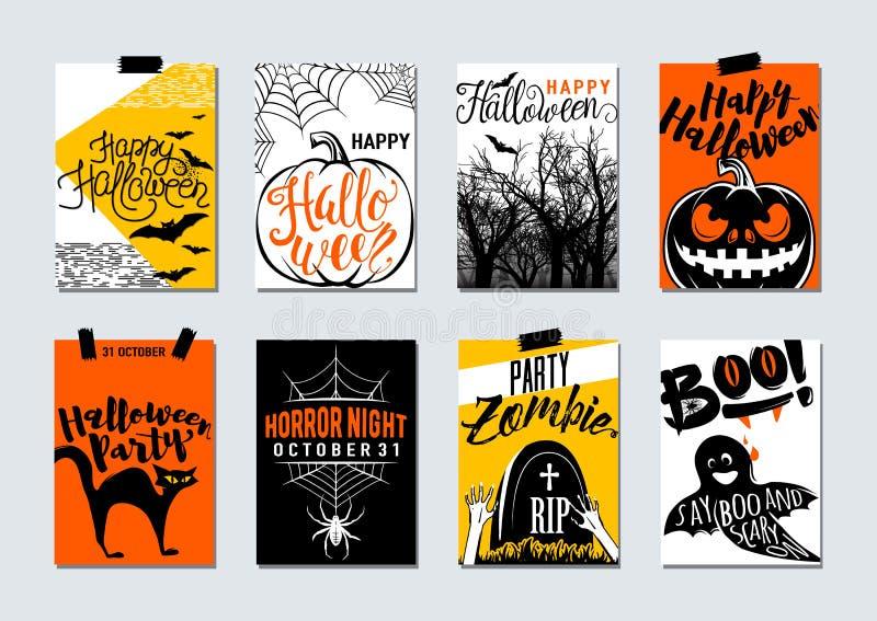 Colección de aviador de la tipografía del feliz Halloween y del partido, cartel ilustración del vector