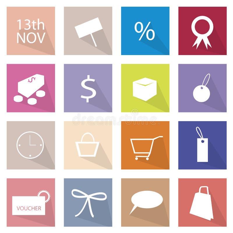 Colección de bandera de 16 iconos del artículo que hace compras stock de ilustración
