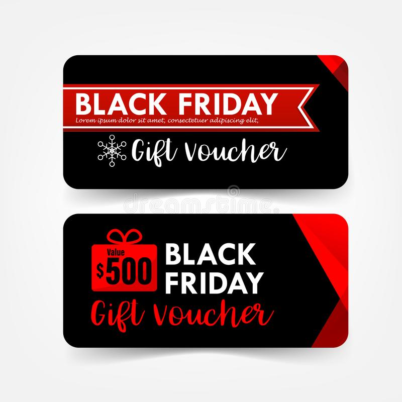 Colección de bandera de la etiqueta del web del vale de regalo de viernes del negro de la Navidad stock de ilustración