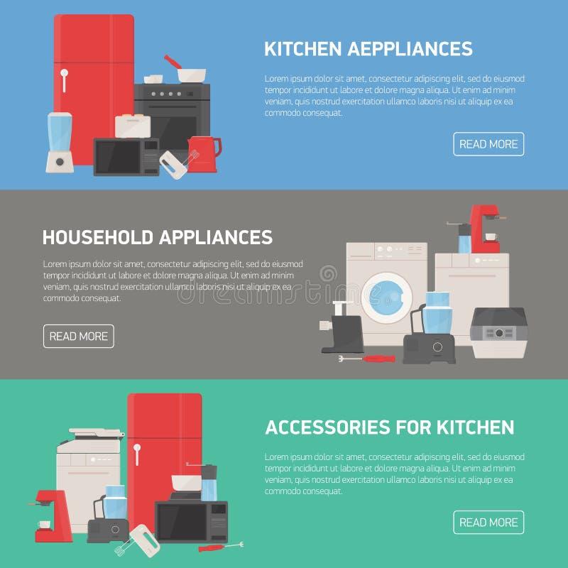 Colección de banderas horizontales con los dispositivos del hogar y de cocina, accesorios, utensilios, electrónico y manual ilustración del vector
