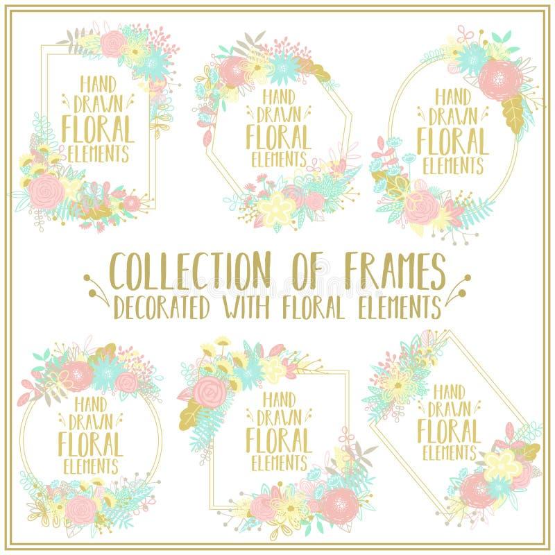 Colección de bastidores decorativos de diversas formas, adornados con adornos florales Imagen del vector de los elemen florales a libre illustration
