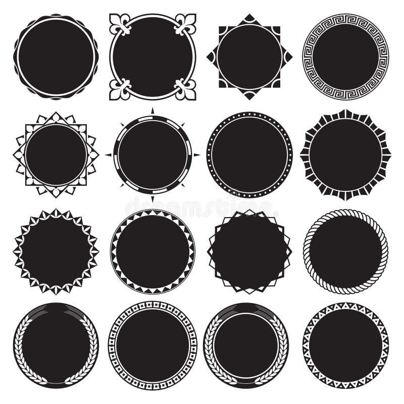 Colección de bastidores decorativos redondos de la frontera con el fondo llenado sólido ilustración del vector