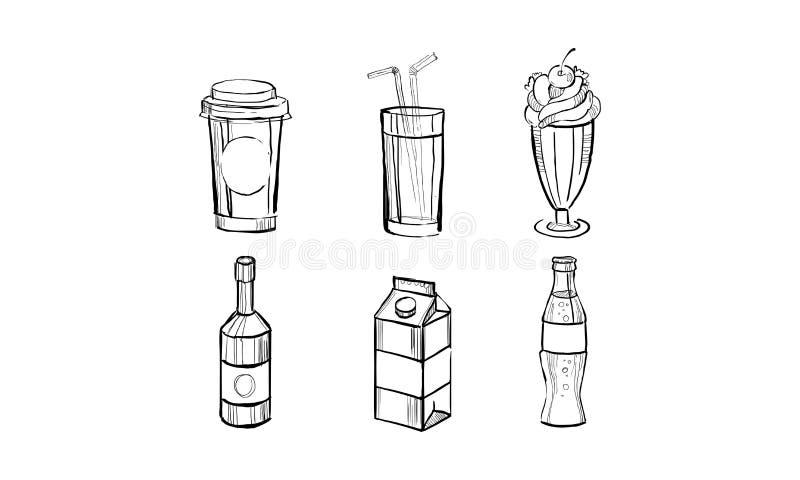 Colección de bebidas, bebida de la soda, batido de leche, caja de papel de la leche, ejemplo exhausto del vector de la mano del j stock de ilustración