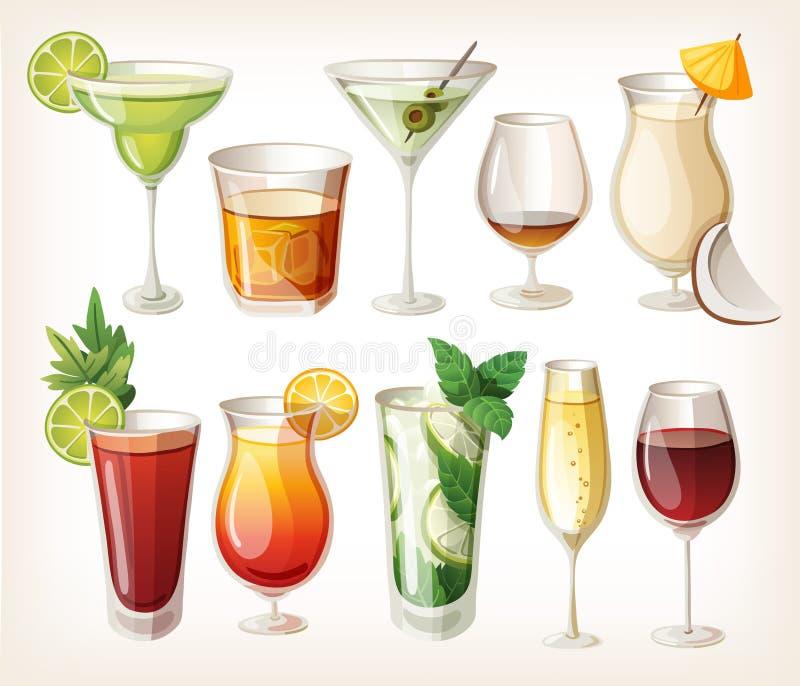Colección de bebidas del alcohol. ilustración del vector
