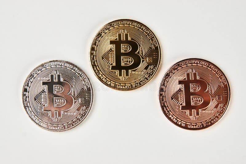 Colección de Bitcoin en el fondo blanco fotos de archivo libres de regalías