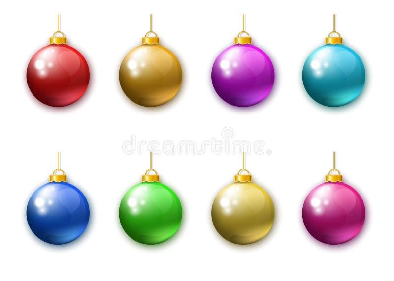 Colección de bolas coloridas realistas de la Navidad libre illustration