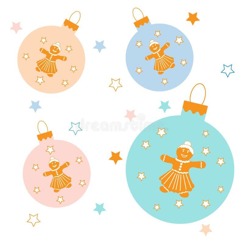 Colección de bolas de la Navidad con las estrellas y el pan de jengibre lindo yo libre illustration