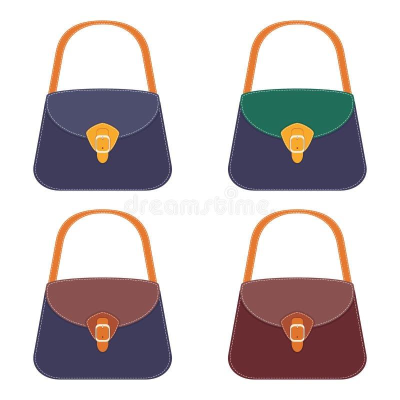 Colección de bolsos de cuero coloridos elegantes con la costura blanca Bolso de la mujer Bolsos de las señoras aislados en el fon ilustración del vector