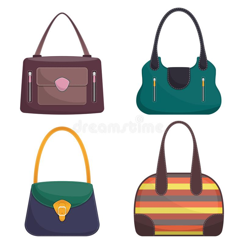 Colección de bolsos de cuero coloridos elegantes con la costura blanca Bolso de la mujer Bolsos de las señoras aislados en el fon stock de ilustración