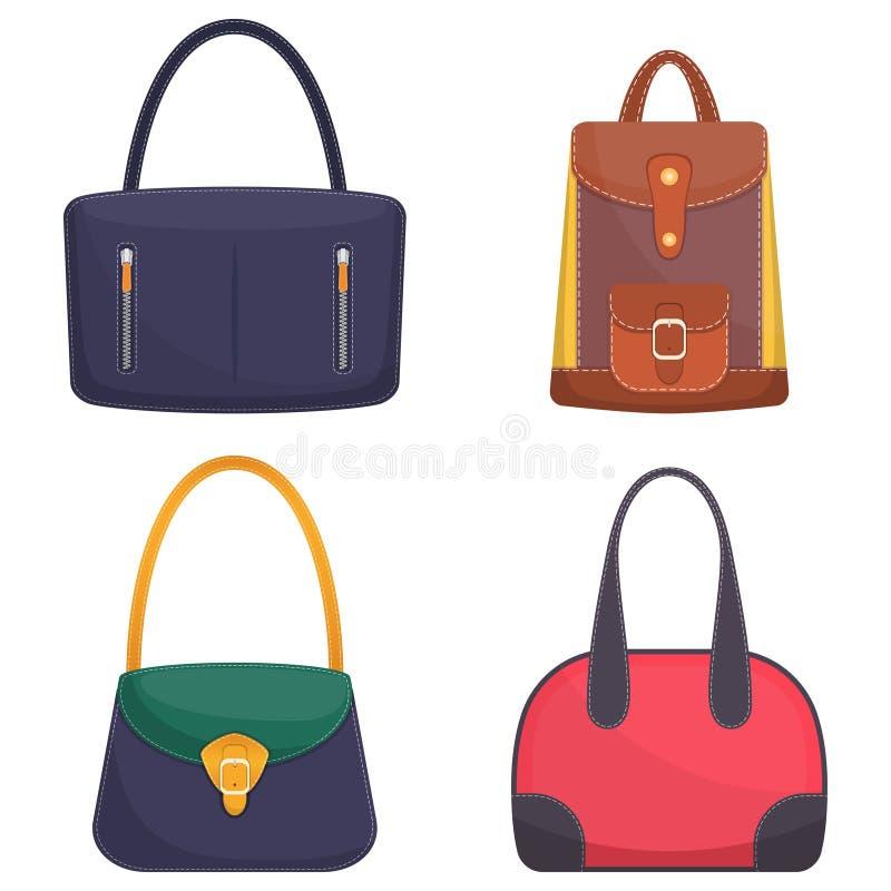 Colección de bolsos de cuero coloridos elegantes con la costura blanca Bolso de la mujer Bolsos de las señoras aislados en el fon libre illustration
