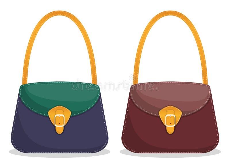 Colección de bolsos de cuero coloridos elegantes con la costura blanca Bolsos de las mujeres de moda s aislados en el fondo blanc ilustración del vector