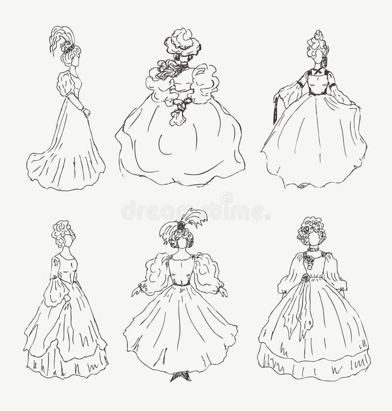 Colección de bosquejos de las mujeres en ropa retra Señoras en vestidos del vintage stock de ilustración