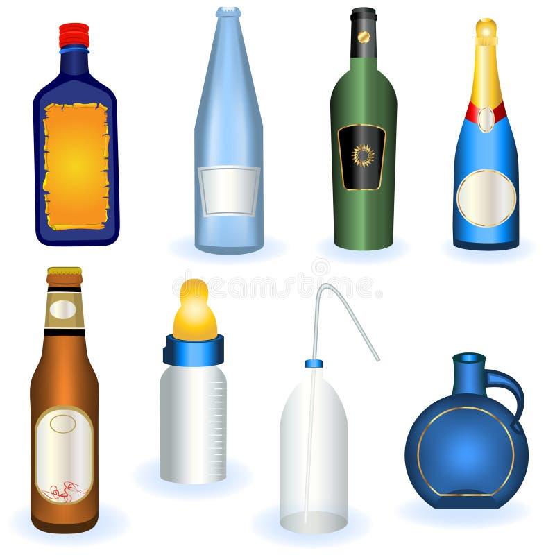 Colección de botellas stock de ilustración