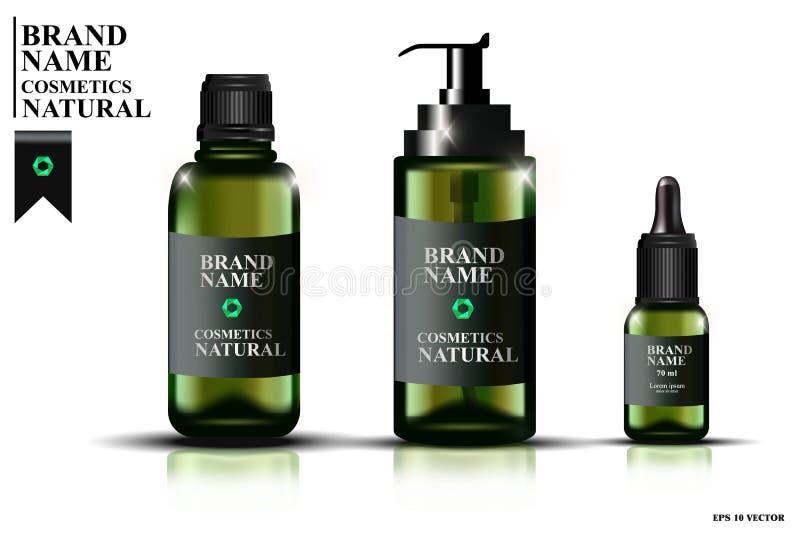 Colección de botellas de cristal verdes con las pipetas, botellas con el aceite para la cara Plantilla cosmética, botella cosméti libre illustration