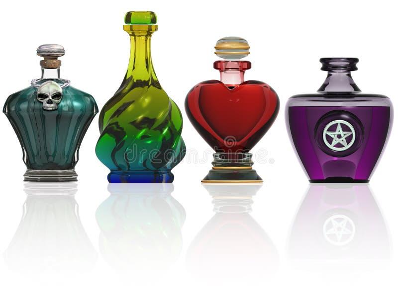 Colección de botellas de la poción stock de ilustración
