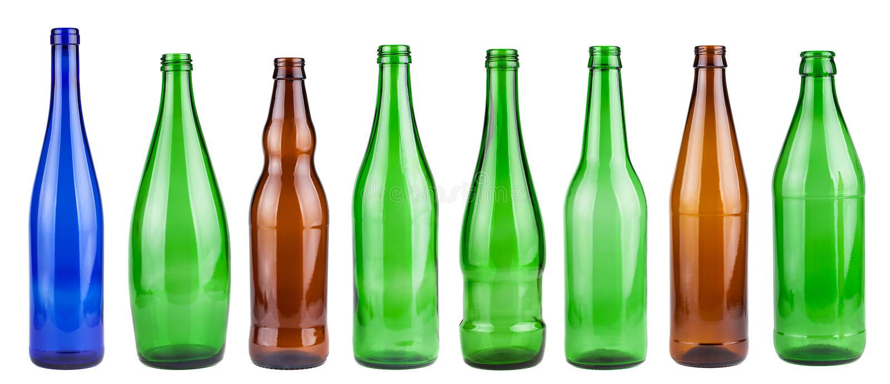 Colección de botellas vacía fotografía de archivo libre de regalías