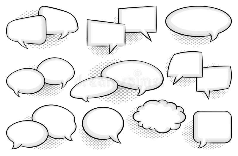 Colección de burbujas cómicas del discurso del estilo stock de ilustración