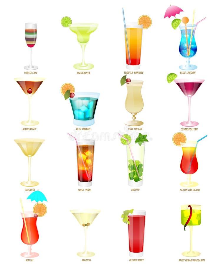 Colección de cócteles populares en un fondo blanco ilustración del vector