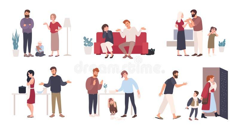 Colección de cónyuges o de socios románticos durante conflicto Sistema del marido y de la esposa que pelean, el pelearse, gritand stock de ilustración