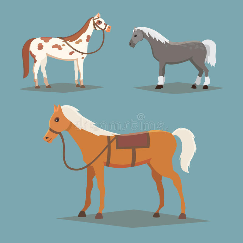 Colección de caballos aislados Animales del campo lindos del caballo de la historieta Panes de Differend stock de ilustración