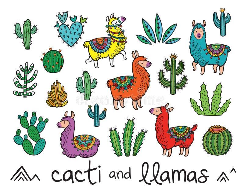 Colección de cactus y de llamas en estilo de la historieta Ilustración del vector stock de ilustración