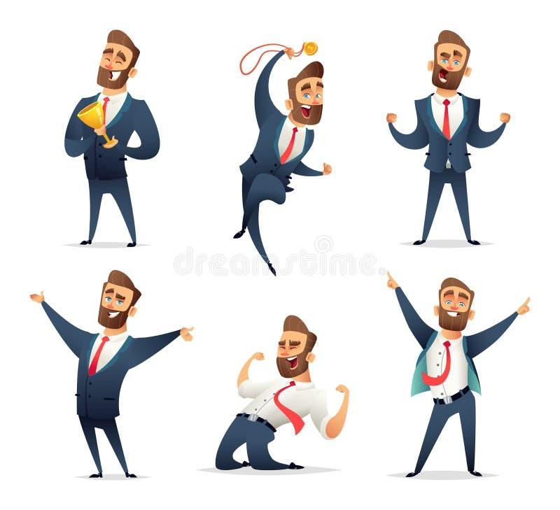 Colección de carácter encantador acertado del hombre de negocios en diversas actitudes dinámicas El encargado goza del vencedor stock de ilustración