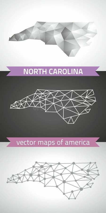 Colección de Carolina del Norte de mapa moderno de los mapas del diseño del vector, gris y negro y de plata del punto del esquema stock de ilustración