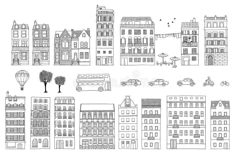Colección de casas europeas dibujadas mano del estilo stock de ilustración