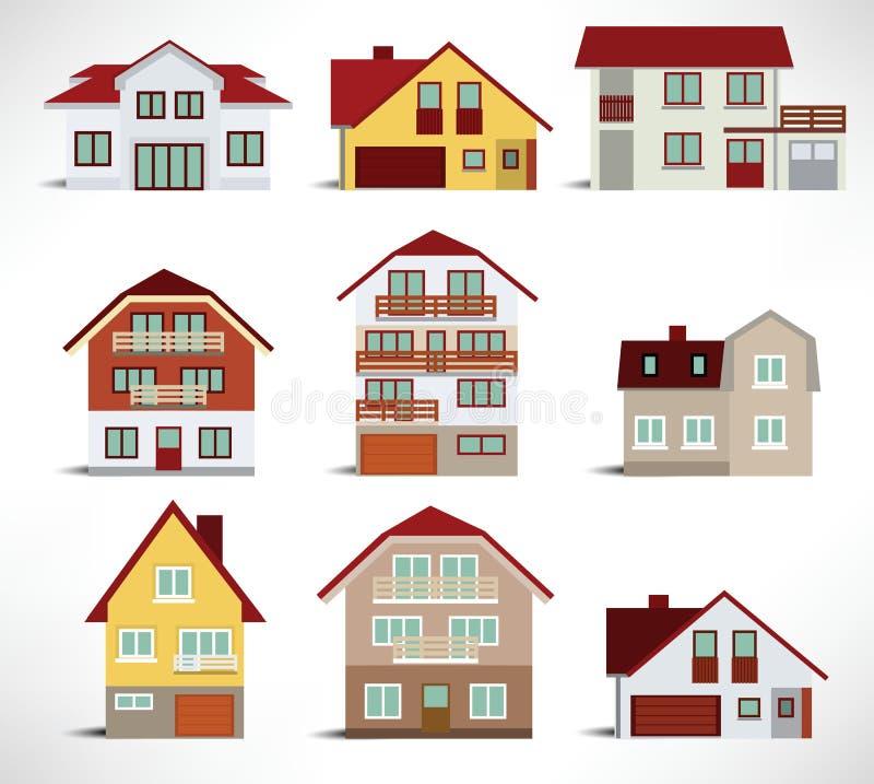 Colección de casas urbanas stock de ilustración