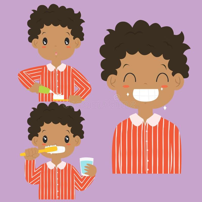 Colección de cepillado del vector de la actividad de los dientes del muchacho afroamericano stock de ilustración