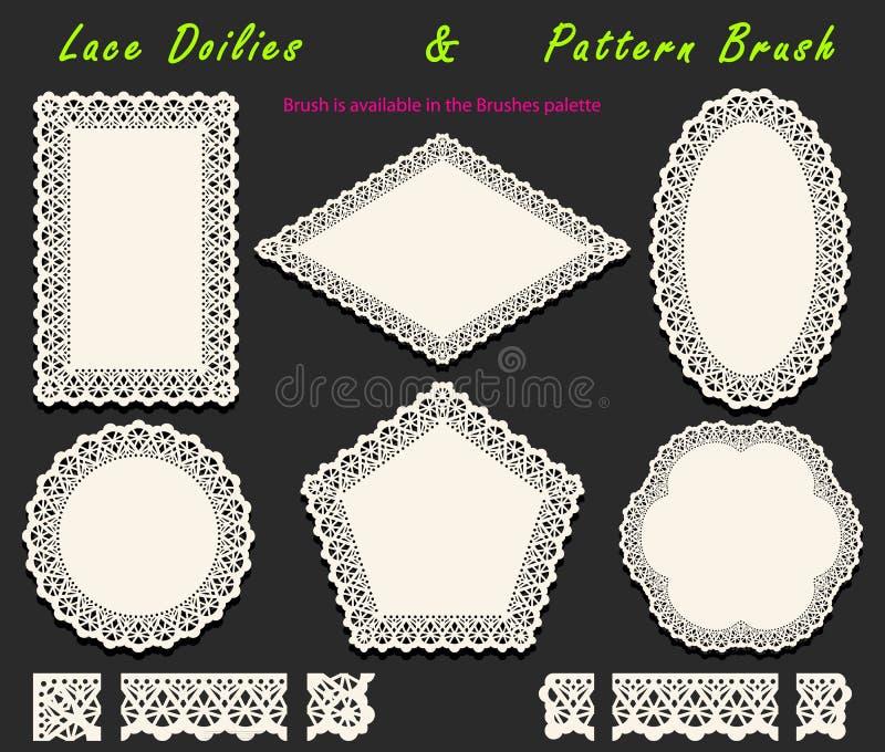 Colección de cepillo blanco a cielo abierto del modelo del cordón y servilletas, tapetitos y elementos de encaje diversificados d ilustración del vector