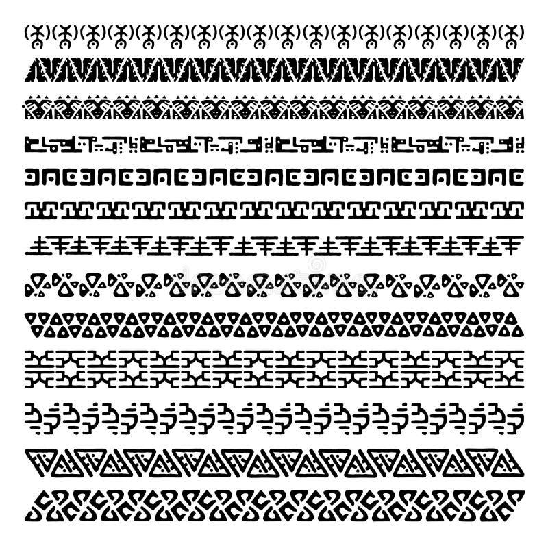 Colección de cepillos del modelo para los marcos Fronteras inconsútiles en estilo étnico Ornamentos tribales aztecas libre illustration