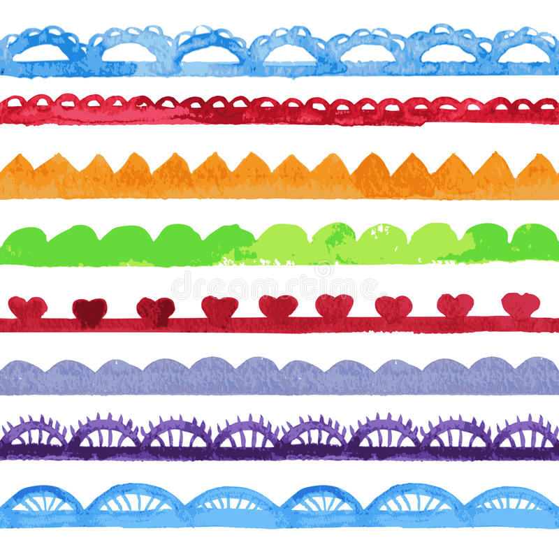 Colección de cepillos del vector de la acuarela. stock de ilustración