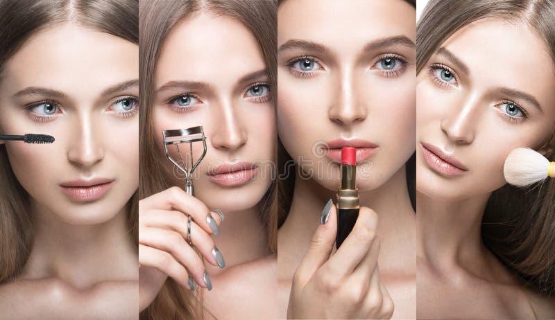 Colección de chica joven hermosa con un maquillaje natural ligero y herramientas de la belleza a disposición fotografía de archivo libre de regalías