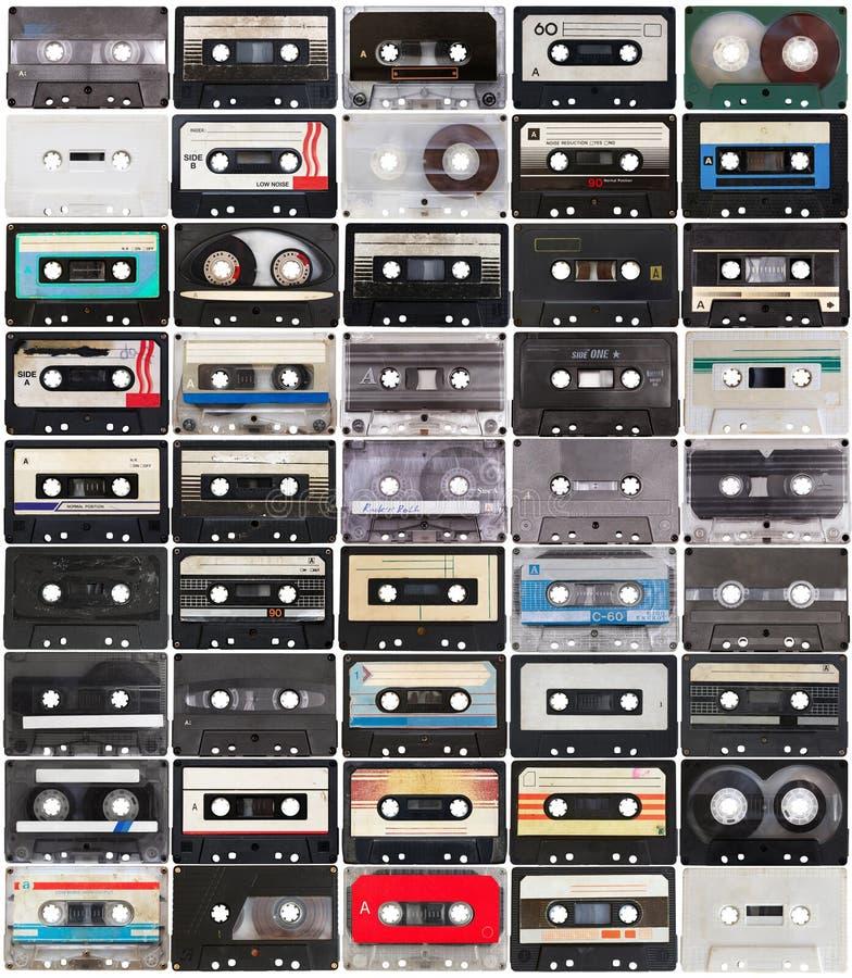 Colección de cintas de audio retras imagen de archivo